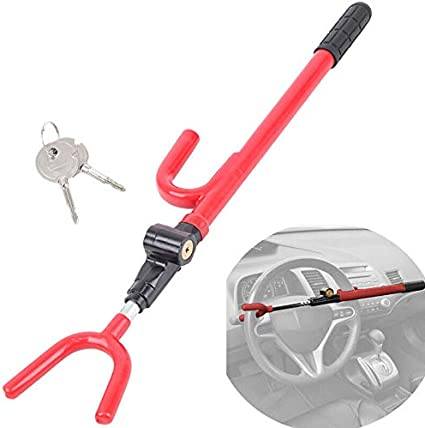 Steering Wheel Lock Stainless Steel The Club Car Anti Theft Truck SUV Auto Van Universal RED Anti Theft Security System