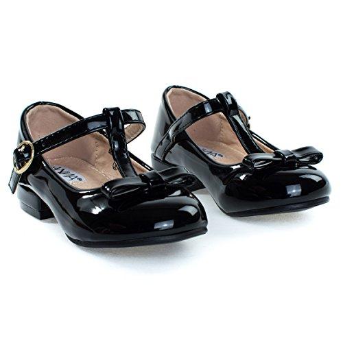 Girls Shoe Children Kid Chunky T Block Black Pump amp; Heel Strap Mary Bow Jane rnvr7