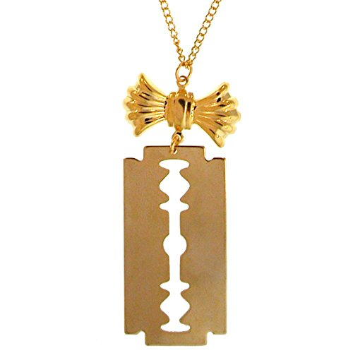 """7/8 X 2 1/4"""" Razor Blade with Bow On 16"""" Chain, Gpe, USA!, in Gold Tone"""