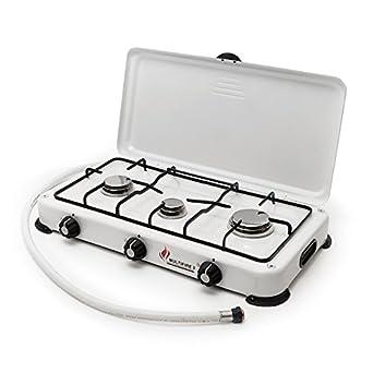 Table de cuisson gaz portable 2 feux 3200 W butane  propane Blanc laqué -  Couvercle Proweltek Cadeaux de Noël uniques 58bcd86a81a7