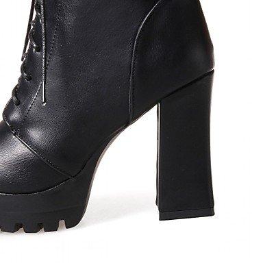 Desy Damen Stiefel bequeme Innovative Stiefel Herbst Winter Kunstleder Casual Schnürsenkel quadratisch schwarz grau braun 7,5–�?,5cm