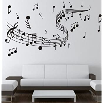 Amazon.com: Dailinming WALL\'S MATTER Home Decor Music Note Wall ...
