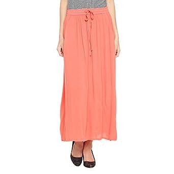 e86cc2fecd6f Annabelle By Pantaloons Women's Frills Maxi Skirt (110031770001_Coral_28)