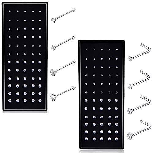 - Thunaraz 60-120pcs Stainless Steel Nose Studs Rings Piercing Pin Body Jewelry 22G 1.5mm 2mm 2.5mm (E:120PCS Silver Tone)