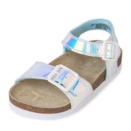 The Children's Place Girls' TG Mtlc Luna Flat Sandal, Silver, TDDLR 4 Medium US Infant