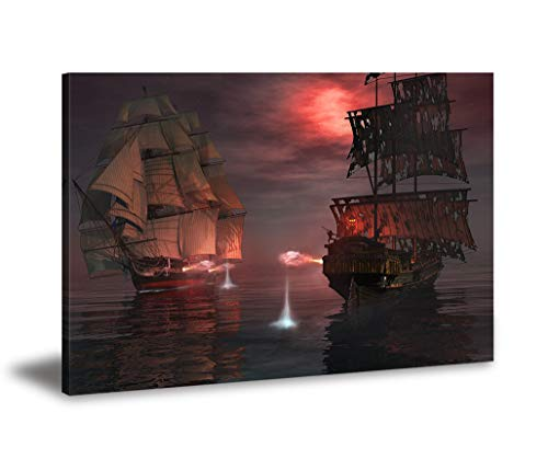 BLINFEIRU-Pirate Ship,Ship in The Sea,Canvas Art Wall Decor,Ready to Hang,16x22inches