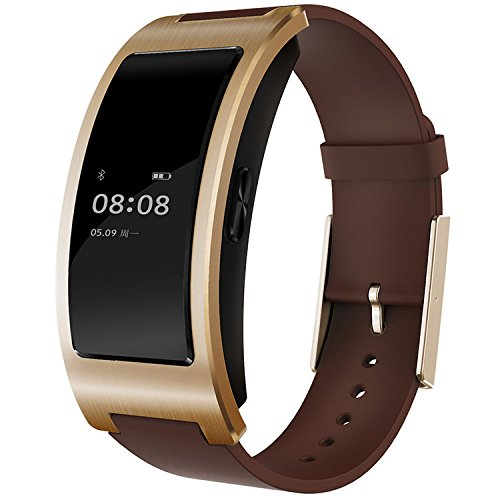Kassica Waterproof Blood Pressure Heart Rate Monitor Fitness Tracker Stopwatch Sports Activity Healthy Smart Wristband Pedometer Sleep Quality Smart Bracelet for Androied IOS (Gold+Brown Band)