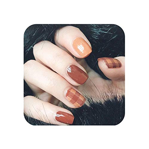 False Nails 13 Styles Choose Fake Nails Elegant Grid Lattice Artificial Square Nail Tips With Glue Sticker Unhas Press On Nails -