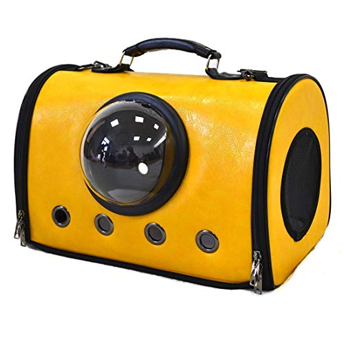 Emily Pets Airline Approved Pet Carriers with Fleece Pads Soft Sided Carrier Leather Touch for Dog and Cat (Yellow)