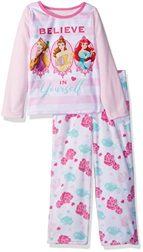 Disney Girls' Big Multi-Princess 2-Piece Fleece Pajama Set, Pink Believe, 8