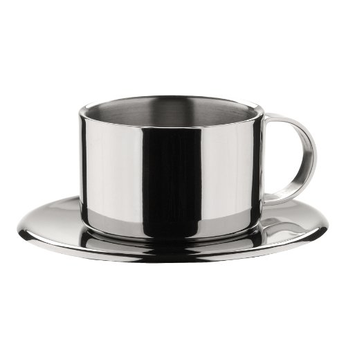 MIU France Stainless Steel Espresso Cups & Saucers, 7.5-Ounce, Silver, Set of 4 (Saucer France)