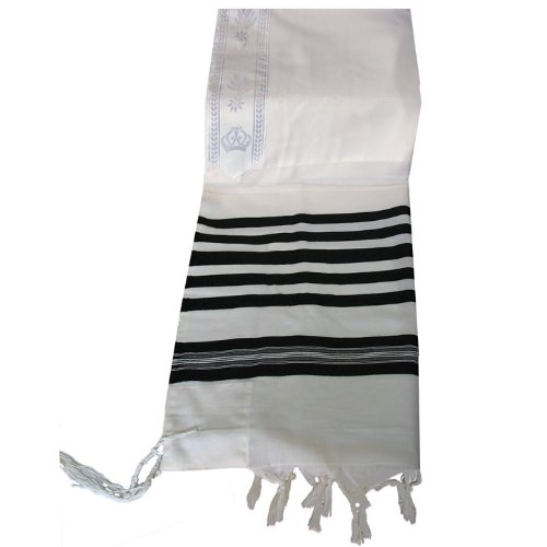 100% Wool Tallit Prayer Shawl in Black Stripes Size 51