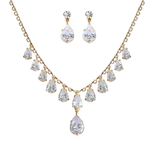 EleQueen Women's Full Prong Cubic Zirconia Dangling Teardrop Bridal Necklace Earrings Set Gold-tone