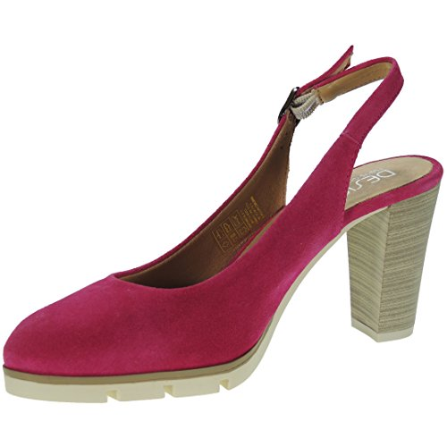 8CM Serraje Mujer Desiree Modelo Descubierto 2102 Ancho Fucsia Tacón para Zapato EXXpwBq7