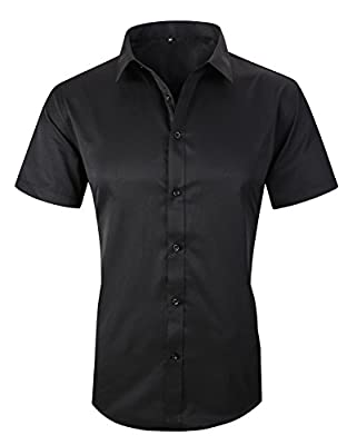 JHVYF Men's Casual Short Sleeve Business Slim Fit Button Down Dress Shirts