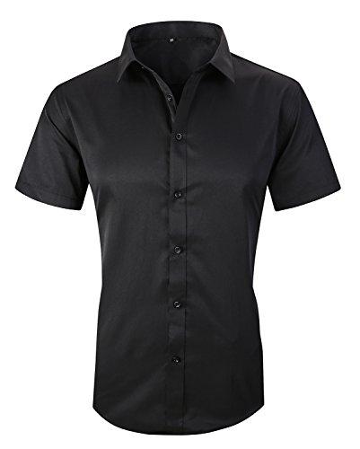 Men Silk Fabric - JHVYF Men's Casual Short Sleeve Business Slim Fit Button Down Dress Shirts 2618 Black AS 3XL/US M