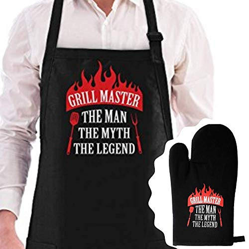 Grill Master The Man The Myth The Legend Premium Quality Apron and Oven Mitt Set ()
