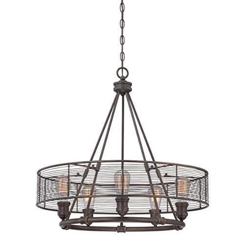 Eurofase 28065-012 26 Diameter Terra Industrial Drums Chandelier with 1 Edison Light Bulb, Large, 26 x 26 x 25.25 , Weathered Bronze Finish