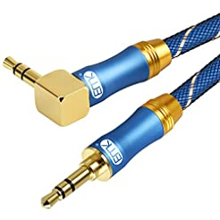 90 Degree Right Angle Aux Cable - [24K G...