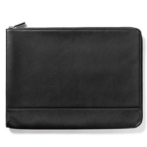 Leatherolgy Zippered Document Holder with Interior Pocket for Tablet - Full Grain Leather - Black Onyx (Black) ()