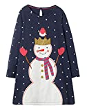Fiream Girls Cotton Longsleeve Party Dresses Special Occasion Cartoon Print Dresses