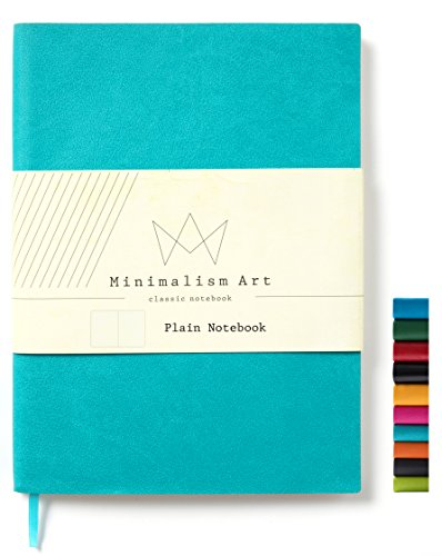 Minimalism Art, Soft Cover Notebook Journal, A5 Size 5.8 X 8.3 inches, Blue, Plain/Blank Page, 176 Pages, Fine PU Leather, Premium Thick Paper-100gsm, Ribbon Bookmark, Designed in San Francisco