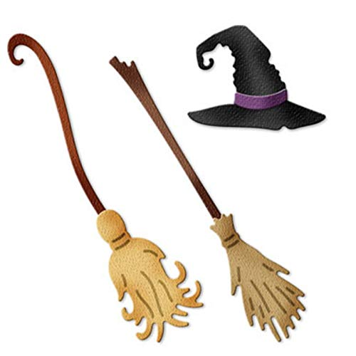 Halloween Metal Cut Cutting Dies Mold Tool Broom Witch Hat Stencil for Handmade DIY Craft Scrapbooking Scrapbook Embossing Drawing Paper Card Decorative Crafts New]()