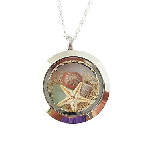 Glass Necklace Starfish (Exclusive for Amazon Prime Members - Memory Locket, a piece of natural sea glass, Beach Sand, a Starfish, an Auger Shell and a Button shell, stainless steel locket, FREE Gift Wrap, FREE Gift Message)