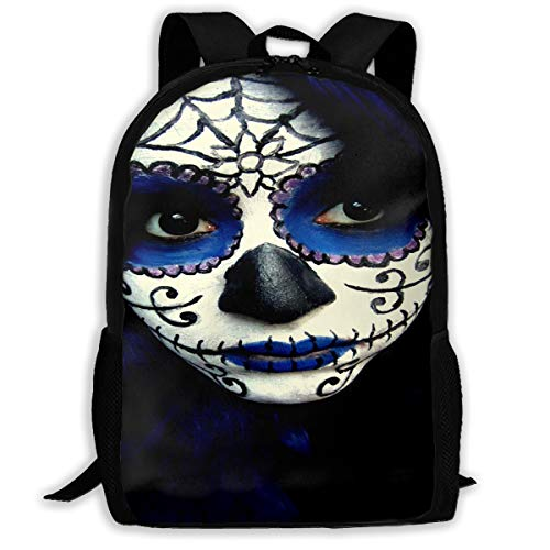 Backpack Guy Sugar Skull Makeup Zipper School Bookbag Daypack Travel Rucksack Gym Bag For Man -