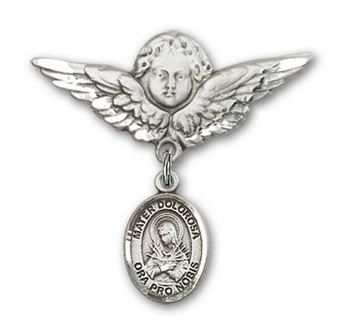 Icecarats Créatrice De Bijoux En Argent Sterling Mater Dolorosa Charme Ange Broche De Badge 1 1/8 X 1 1/8