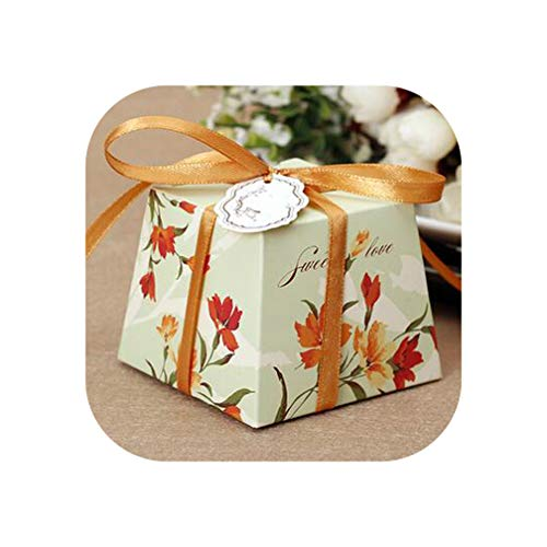 Hengheng-Shop 50Pcs Wedding Gift Box Romantic Elegant Decoration Rose Flower Party Sweet Favors Wedding Paper Candy Boxes with Ribbon,Yellow As Picture1,92X70X70Mm