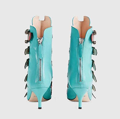 de estilo americano Punk GLTER Nuevo Buckle cortas alto tacón Botas Mujeres apuntado y europeo Boots Blue cuero wzwvPrEq