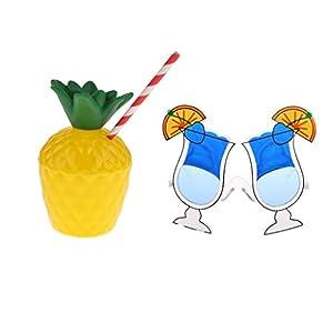 MonkeyJack Funny Adult Kid Sunglasses+Pineapple Drinking Cup Tropical Luau Beach Birthday Hen Night Party Decoration