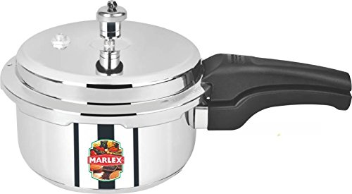 Marlex Romantica Outer Lid Stainless Steel Pressure Cooker, 3.4 Litres, Silver