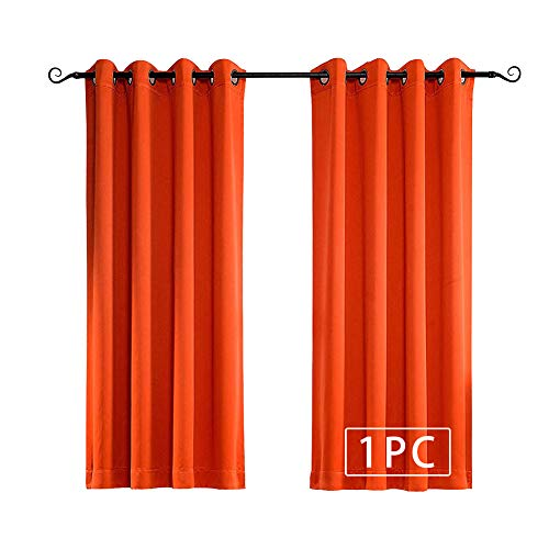 MYSKY HOME Solid Grommet top Thermal Insulated Window Blackout Curtains for Bedroom, 52 x 63 Inch, Orange, 1 Panel (Curtains Blackout Orange Burnt)
