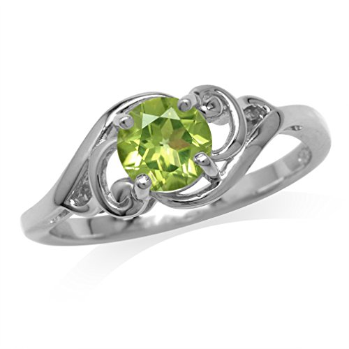 - 6MM Natural Round Shape Peridot White Gold Plated 925 Sterling Silver Filigree Solitaire Ring Size 6