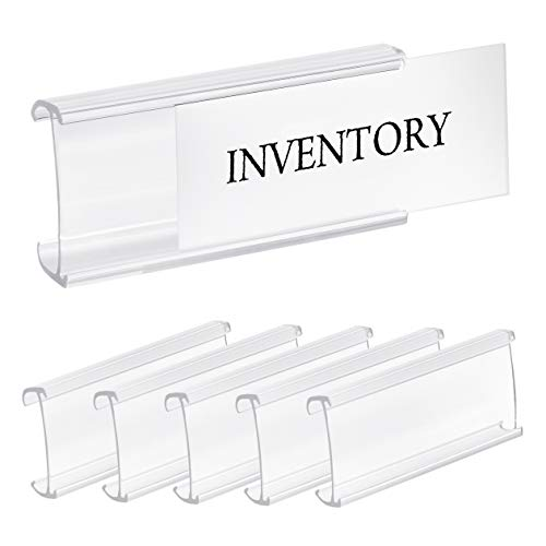 Pack of 25 - Clear Butyrate Plastic Wire Shelf Label Holder, Sign and Ticket Holder, (Fits Metro and Nexel 1-1/4