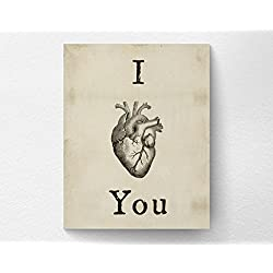 I love You Print, Valentines Day Decor Art Print, Valentines Day Gift, Anatomical Heart Print, Heart Illustration