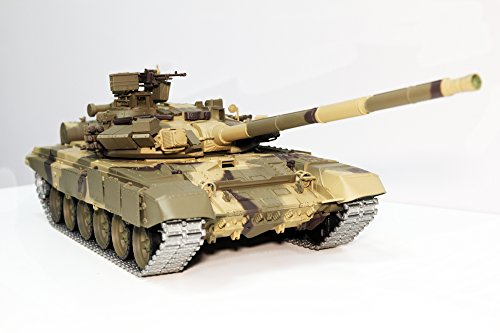 Remote Control 2.4Ghz 1/16 Scale Russian T-90 Main Battle Air Soft RC Tank Smoke & Sound (Upgrade Version w/ Metal Gear & Tracks) ()