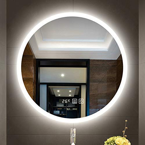 JYYSJHG Bathroom Mirror Round LED Wall-Mounted Thickness 5mm Smart Mirror Anti-Fog Mirror -