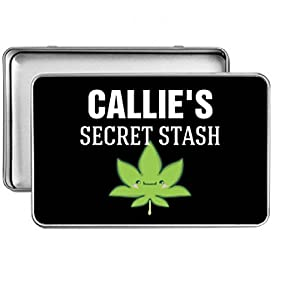 Callie's Secret Cannabis Stash: Small Rectangle Silver Metal Storage