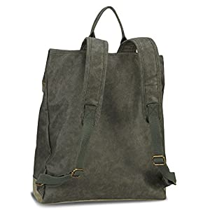 Hynes Eagle Stylish Roll Top Canvas Backpack Lightweight Travel Bag Matte Finish Army Green