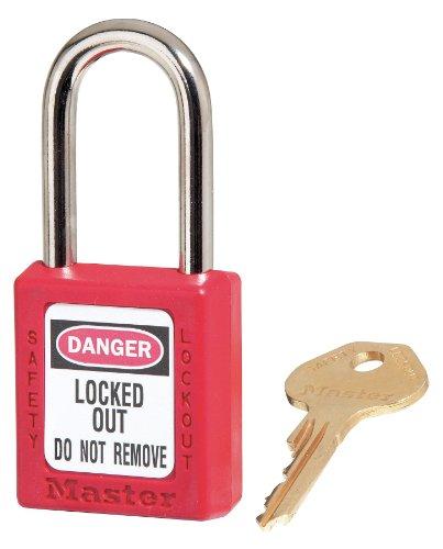 Government Safety Lockout Padlock, Zenex, 1 1/2 inch, Red, 1 Key (American Safety Padlocks Lockout)