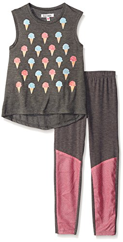 Kensie Little Girls' 2 Piece Tank Top and Legging Pant, Charcoal Heather, 4