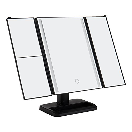 Lighted Makeup Mirror Trifold 24 LED Strip Vanity Mirror Magnification Touch Screen Adjustable 180 Degree Rotation and 2 Power Supply Way, 3X 2X 1X Home Bathroom Cosmetic Travel Beauty Mirror
