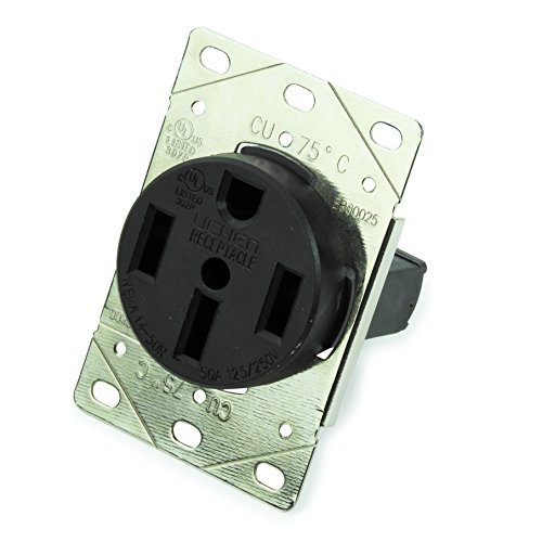 RV 50 Amp, 125/250 Volt, NEMA 14-50R, 3P, 4W Power Receptacle Flush Mounting Receptacle, Straight Blade, Industrial Grade, Grounding, Side Wired, Steel Strap, Black (Flush Side Outlet)