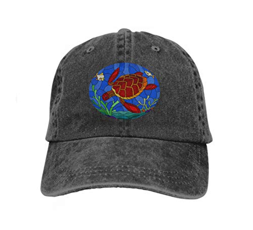 (Cowboy Hat Fashion Baseball Cap for Men and Women Illustration Stained Glass Style Black sea Turtle Seabed backg Black)