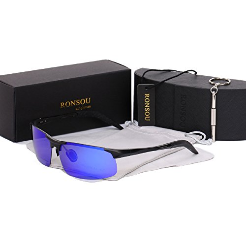 Ronsou Men Sport Al-Mg Polarized Sunglasses Unbreakable For Driving Cycling Fishing Golf black frame/blue - Hours Target Chicago