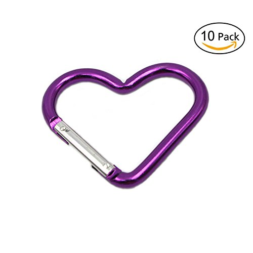 Heart Shaped Clip (Mini Heart Shaped Aluminum Carabiner Buckle Pack Spring Snap Keychain Clip, Purple, Pack of 10)