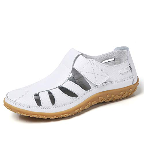 Z.SUO Women's Leather Hollow Comfortable Flat Sandals Sports Sandals White